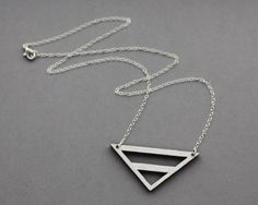 Wooden Metallic Cut Out Necklace Silver  Modern by FawnAndRose, £17.00