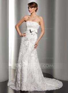 Wedding Dresses - $274.99 - A-Line/Princess Strapless Court Train Satin Lace Wedding Dress With Beadwork Sequins (002012170) http://jjshouse.com/A-Line-Princess-Strapless-Court-Train-Satin-Lace-Wedding-Dress-With-Beadwork-Sequins-002012170-g12170?ver=1
