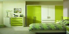 Lime green modern bedroom design - Decoist