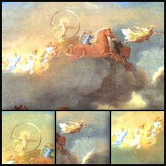 o deus grego da saúde e da harmonia,Apolo(Hélios, na mitologia romana) está, lá do alto, dentro de um círculo dourado, o que representa a eternidade que é o nascer do Sol (Apolo