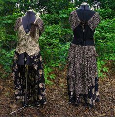 Steampunk bustle Vest Dress upcycled chocolate by MyFunkyCamelot,