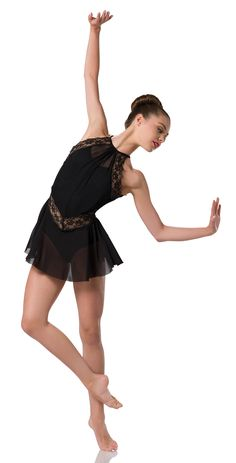 Settle 28219 Leotard With Attached Skirt Black Spandex Black Stretch Mesh And Nude Stretch Mesh Trim Black Stretch Lace Dancecostumes Dance Dancecompetition Artstonethecompetitor Moderndance Lyricalmodern Lyricaldance Modern Contemporary Dance, Contemporary Dance Costumes, Cute Dance Costumes, Ballet Costumes, Dance Photography Poses, Ballet Clothes, Dance It Out, Dance Tights, Black Costume