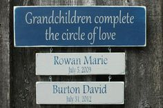 Grandparents Quote with Grandchildren Tiles - 6x18 Custom Personalized Handpainted Rustic Wooden Sign