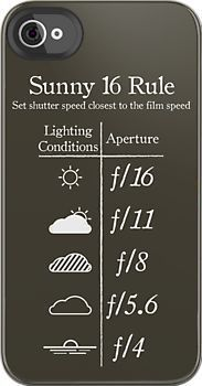 Cool iPhone case. Tells you what aperture you need to have your cam on on different weather conditions! :D