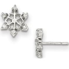 925 Sterling Silver Pinwheel Prong CZ Snowflake Stud Earrings