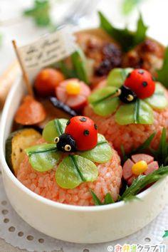 日本人のごはん/お弁当 Clover and ladybug onigiri bento box Cute Food, Good Food, Lunch Box Bento, Japanese Food Art, Japanese Lunch, Cute Bento, Kawaii Bento, Bento Recipes, Food Humor