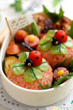 Tutorial: Ladybug on Shamrock Onigiri Rice Ball Bento by あ~るママ