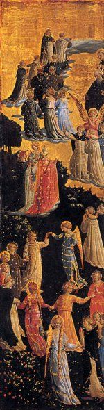 Fra Angelico 1387 – 1455  Paradise  tempera on panel (102 × 28 cm) — c. 1435 - 1440 Museum Gem舁degalerie der Staatlichen Museen, Berlin  Fra Angelico biography  This work is linked to Genesis 2:25