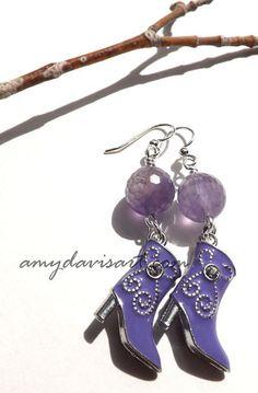 Purple Rhinestone Boot Earrings Cowgirl boot by AmyDavisArt