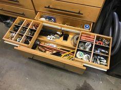 Woodworking Shop Tooling (Re)Organization - The Garage Journal Board Garage Organization Systems, Diy Garage Storage, Garage Shelf, Shop Organization, Tool Storage, Storage Ideas, Bike Storage, Armoire Garage, Garage Cabinets