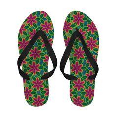 Hawaii Beach Vacation Tropical Flower Flip Flops