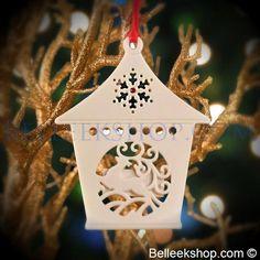 Belleek Living Reindeer Lantern - Christmas Tree Ornament