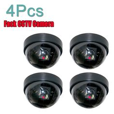 4pcs Simulation Camera Fake Dummy Security Dome Camera LED Light Alarm Emulate Camera Webcam Indoor Outdoor Warning Sign #men, #hats, #watches, #belts, #fashion, #style, #sport