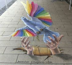 chalk art done in Sogel, Germany at the International Street Art Festival, Winner of the Public's Choice Award. Murals Street Art, 3d Street Art, Amazing Street Art, Street Art Graffiti, Street Artists, Amazing Art, Awesome, Yarn Bombing, 3d Sidewalk Art