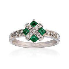 square emeralds and diamond round ring
