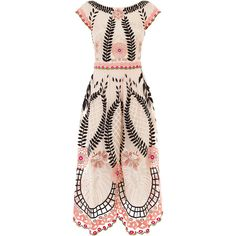 Temperley London Midi Belle Dress ($2,755) ❤ liked on Polyvore featuring dresses, pink summer dresses, summer midi dresses, summer dresses, embroidered dress and midi cocktail dress
