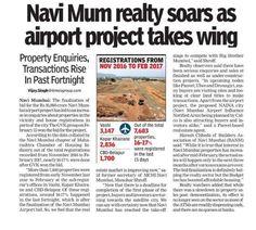 As seen in The Times of India- Navi Mumbai Navi Mum realty soars as airport project takes wing. Property Enquiries, Transactions Rise In Past Fortnight www.paradisegroup.co.in #ParadiseGroup #RealEstate #NaviMumbai #Media #Newspaper #NaviMumbaiInternationalAirport #TOI