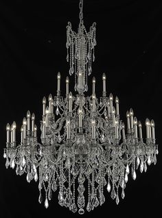 Elegant Lighting - 9245 Rosalia Collection Large Hanging Fixture D54in H66in Lt:30+10+5 Pewter Finish (Royal Cut Crystals)