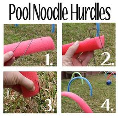 Last summer, I saw a bunch of ideas of things to do with pool noodles, including this great list, so I bought a bunch at the dollar store while they were in season. Backyard Obstacle Course, Kids Obstacle Course, Agility Training For Dogs, Agility Course For Dogs, Dog Enrichment, Dog Playground, Dog Puzzles, Dog Yard, Pool Noodles