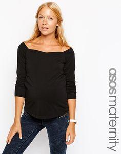 Image 1 of ASOS Maternity Bardot Top With Long Sleeves