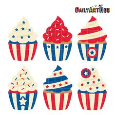 FREE 4th Of July Cupcakes Clip Art Set