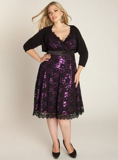 Plus Size Chic: Leigh Plus Size Lace Dress in Black Iris
