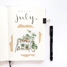 Monthly bujo cover by Hello July! Monthly bujo cover by Bullet Journal Inspo, Bullet Journal August, Bullet Journal Cover Page, Bullet Journal Ideas Pages, Bullet Journal Spread, Bullet Journal Layout, Journal Covers, Bullet Journals, Bullet Journal Water Tracker