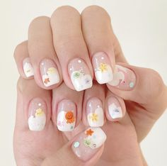 Pretty Nail Art, Cute Nail Art, Cute Nails, Gel Nail Designs, Cute Nail Designs, Kawaii Nails, Hippie Nails, Diy Acrylic Nails, Korean Nail Art