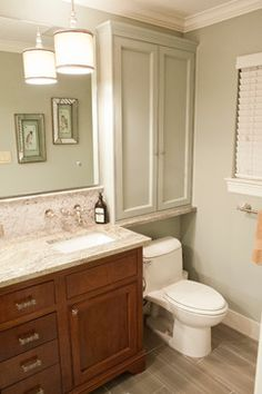over toilet cabinets-  Waynesboro Master Bath Renovation - transitional - Bathroom - Houston - Curtis Lawson Homes