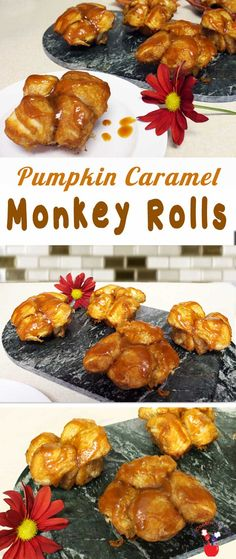Monkeys and kids love to pull apart these gooey caramel monkey rolls flavored with pumpkin. They're quick and easy and a hit at breakfast every time! via @2CookinMamas