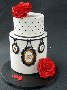 RUBY CAKE - like the white quilting with red rose on top 50th ANNIVERSARY CAKE