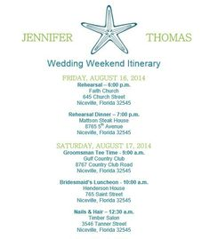 Wedding itinerary, Wedding itinerary template - bridetodo.com ...