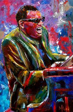 Ray Charles, jazz art, jazz painting, blues music painting by Debra Hurd