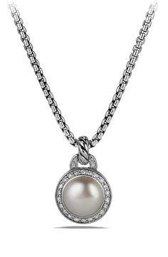 New David Yurman 'Cerise' Petite Cerise Pendant Necklace with Pearl and Diamonds,Silver fashion online. [$695]newoffershop win<<