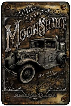(WAT)-(METAL PARKING SIGN)-(MOON SHINE TRUCK)-()-(638401721516)-(8IN X 12IN) - 8IN X 12IN - METAL ALUMINUM SIGN