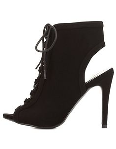 Lace-Up Peep Toe Booties: Charlotte Russe
