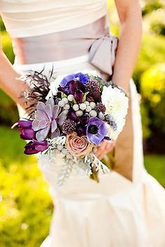 Purple Anemone bouquet with Silver Brunia, Roses, Dusty Miller, and Tulips.  Created by Leigh Anne Landman of The Floral Lab.