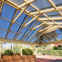Suntuf 26 in. x 8 ft. Solar Gray Polycarbonate Corrugated Roof Panel - 101929 - The Home Depot Wisteria Pergola, Pergola Canopy, Pergola With Roof, Cheap Pergola, Pergola Shade, Patio Roof, Pergola Plans, Diy Pergola, Pergola Kits