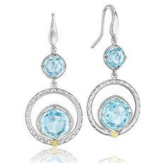 Tacori Island Rains Sky Blue Topaz Dangle Earrings ($560) ❤ liked on Polyvore featuring jewelry, earrings, tacori, tacori earrings, earring jewelry, tacori jewelry and blue topaz jewelry