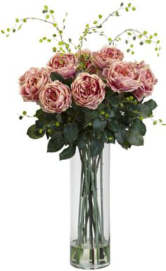 Features:  -Liquid Illusion faux water.  -Gorgeous mix of rose floral and willow accessory.  Holiday Theme: -Yes.  Product Type: -Floral Arrangements.  Flower: -Roses.  Container Finish: -Clear.  Seas