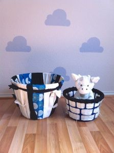 DIY $1 woven baskets for easy organization in the nursery