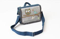 Kindergartentaschen - EULE: Jeans Kindergartenrucksack, Tasche, mit Name - ein Designerstück von baby-lal bei DaWanda