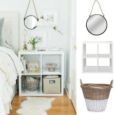 #GettheLook with @thewarehousenz!  1. Home & You Mirror Sicily Round Black 60cm 2. Solano Modena Storage 4 Cube Gloss White 3. Solano Laundry Basket Dipped Willow White 4. Rug Sheepskin Longwool Ivory #thewarehousenzhacks #furniture #NewZealand  #thewarehousenz #interiors #house #styling #style #home #decor #neutral