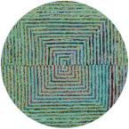 Nantucket Teal (Blue) 6 ft. x 6 ft. Round Area Rug