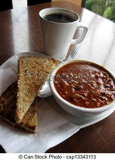 Chile and toast, with a mug of coffee, makes a nice, hot lunch.