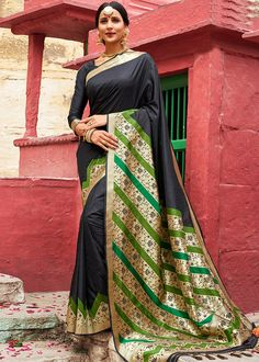 Black Silk Traditional Saree with Floral Weaving Tussar Silk Saree, Art Silk Sarees, Chiffon Saree, Indian Designer Sarees, Indian Sarees, Black Silk, Black Fabric, Plain Saree, Wrap Around Skirt
