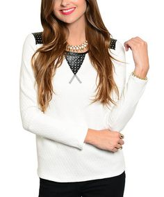 Another great find on #zulily! Black & White Polka Dot Crewneck Sweater #zulilyfinds