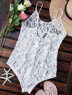 Unlined One-Piece Lace Swimsuit - WHITE XL