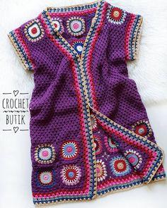 Isıtıp ısıtıp aynı fotoyu paylaşmıyorum haa yanlış anlaşılmasın.. Dikkatli olanlar anladı... Evet aynı renklerde yine mor yelek ancak bu… Crochet For Kids, Easy Crochet, Knit Crochet, Crotchet Dress, Crochet Cardigan, Hand Knitting, Knitting Patterns, Crochet Patterns, Crochet Lingerie