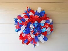 Red White and Blue Spiral Deco Mesh Wreath